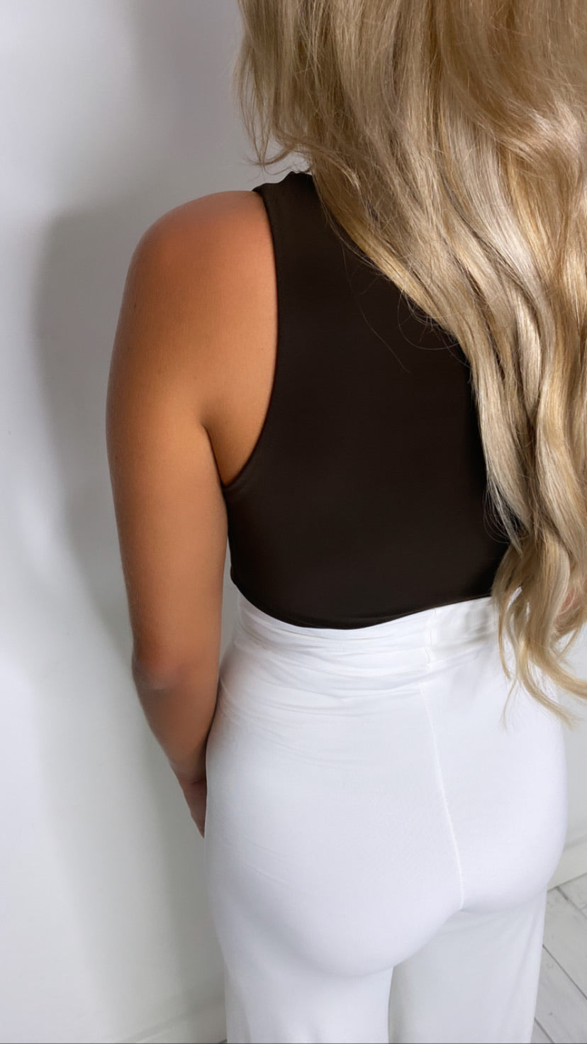 Chocolate high neck bodysuit With Matching Mini Scrunchy (More Colours Available)