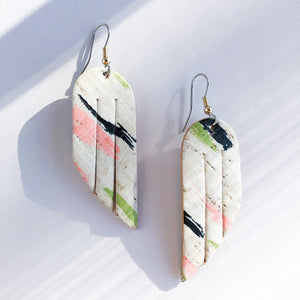 Flourish Leather Brushstroke Cork Mini Fringe Earrings