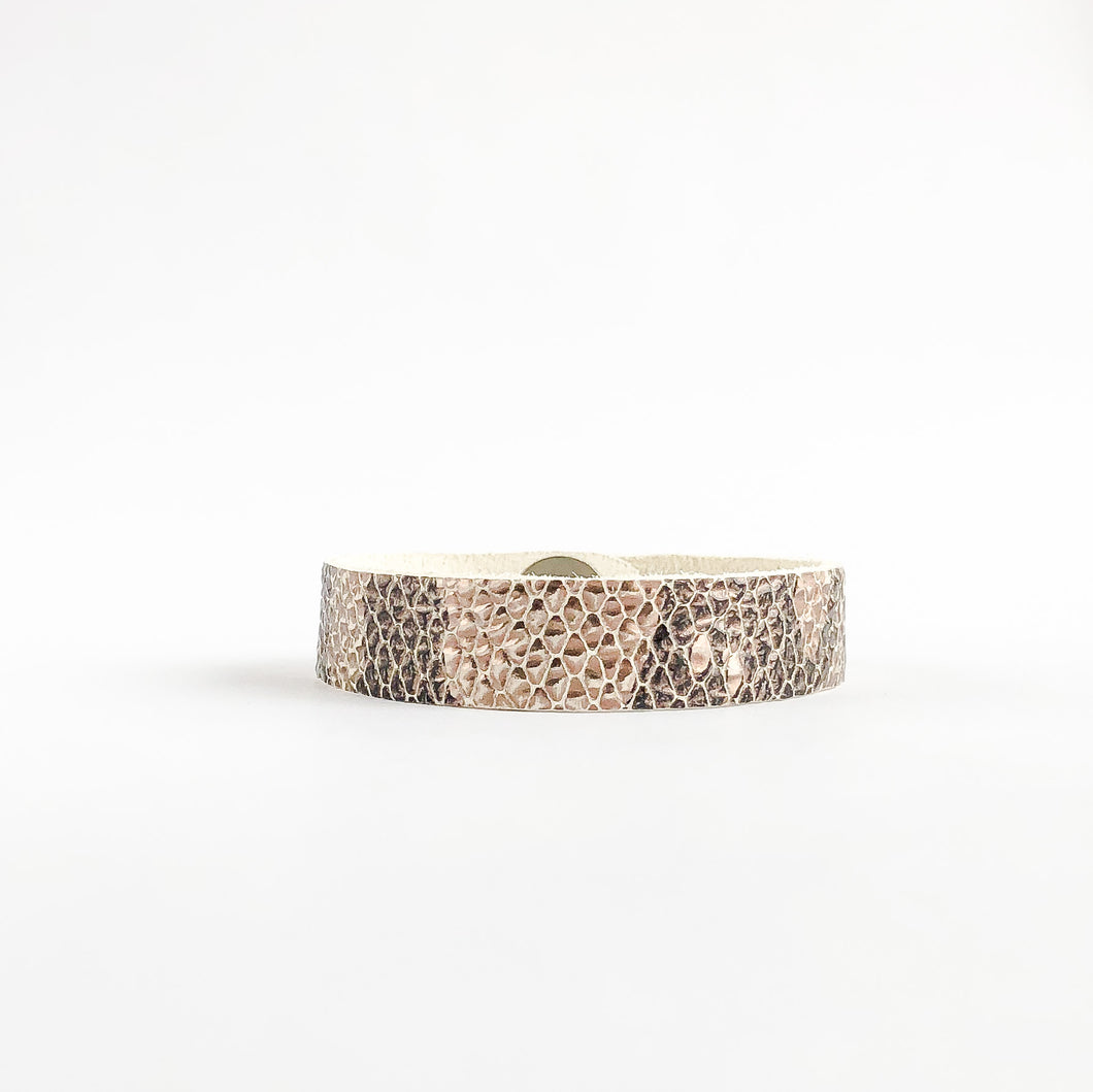 Flourish Leather Snakeskin Skinny Slim Cuff - All Sizes