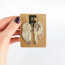 Load image into Gallery viewer, Flourish Leather Mosaic Shimmer Mini Fringe Earrings