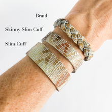 Load image into Gallery viewer, Flourish Leather Mosaic Shimmer Skinny Slim Cuff - All Sizes