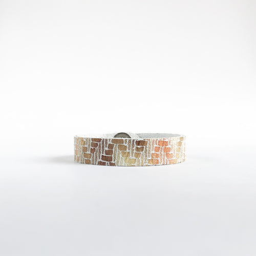 Flourish Leather Mosaic Shimmer Skinny Slim Cuff - All Sizes