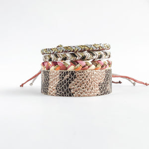 Flourish Leather Snakeskin Slim Cuff - All Sizes