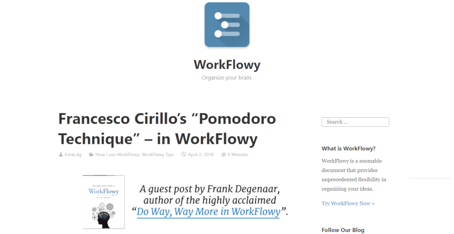 "Francesco Cirillo's ""Pomodoro Technique"" – in WorkFlowy"