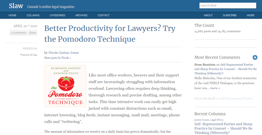 Better Productivity for Lawyers? Try the Pomodoro Technique