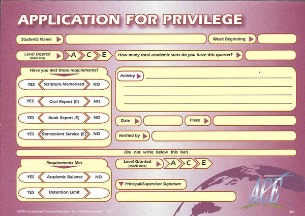 Cover Image for Application for Privileges