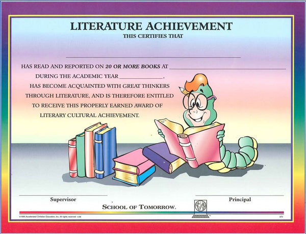 Cover Image for Literature Acievement Award (Ind) Jnr.