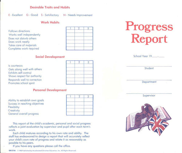Cover Image for PROGRESS REPORT CARD (50)