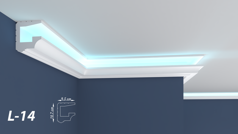 "XPS LED-COVING INDIRECT LIGHTNING UPLIGHTER POLYSTYRENE CORNICE LIGHTWEIGHT FINEST QUALITY -""BEST PRICE & QUALITY""- L-14"
