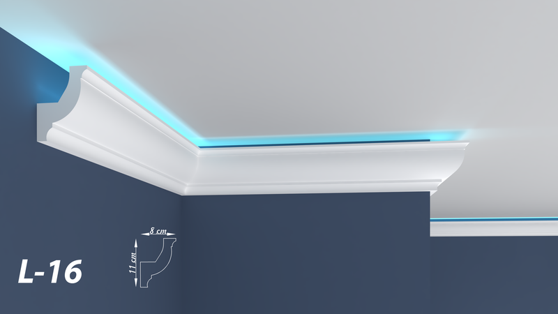 "XPS LED COVING LIGHTNING POLYSTYRENE CORNICE - LIGHTWEIGHT - ""BEST PRICE & QUALITY"" L-16"