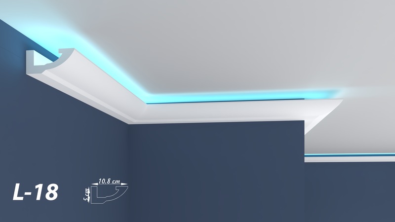 "XPS LED COVING LIGHTNING POLYSTYRENE CORNICE - LIGHTWEIGHT - ""BEST PRICE & QUALITY"" L-18"
