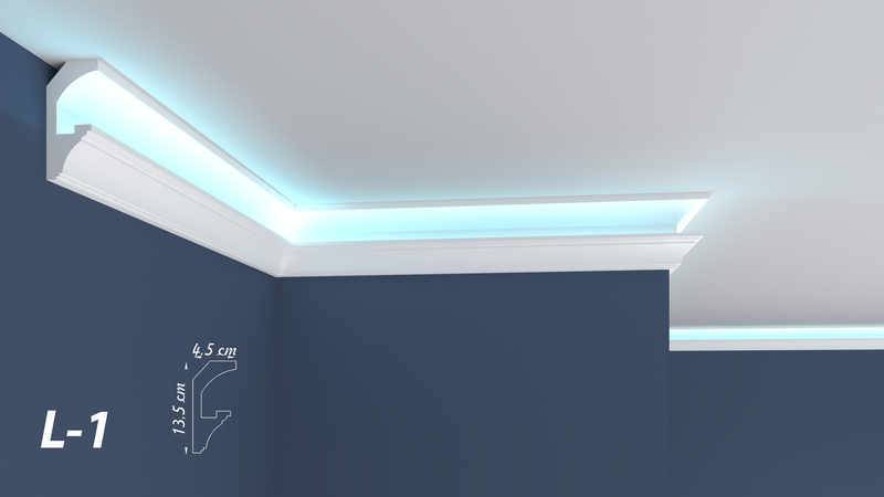 XPS Polystyrene LED Indirect Lighting Up lighter Lightweight Coving Cornice L-1