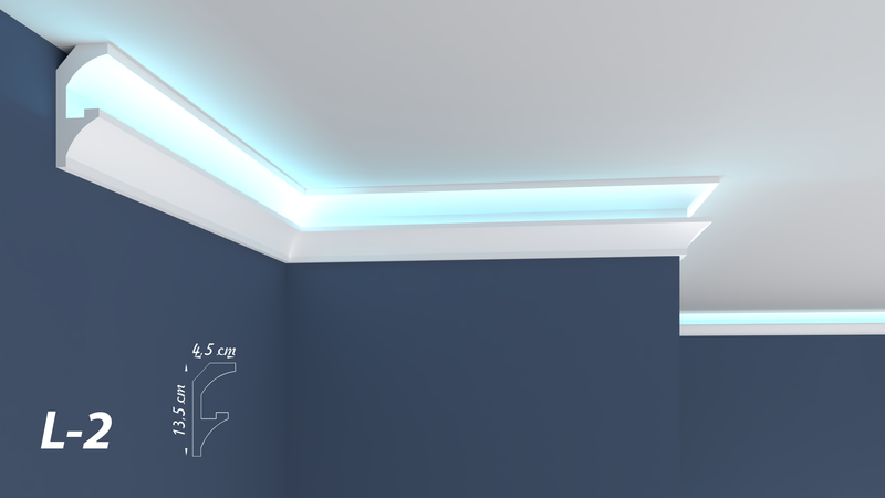 XPS Polystyrene LED Indirect Lighting Up lighter Lightweight Coving Cornice L-2