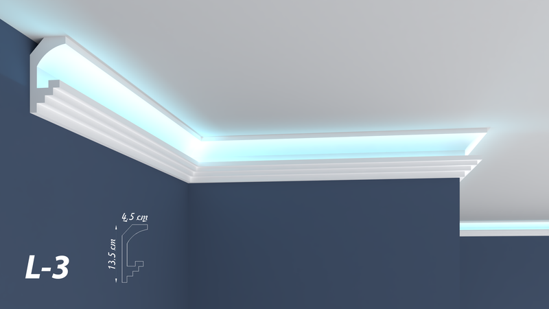 XPS Polystyrene LED Indirect Lighting Up lighter Lightweight Coving Cornice L-3