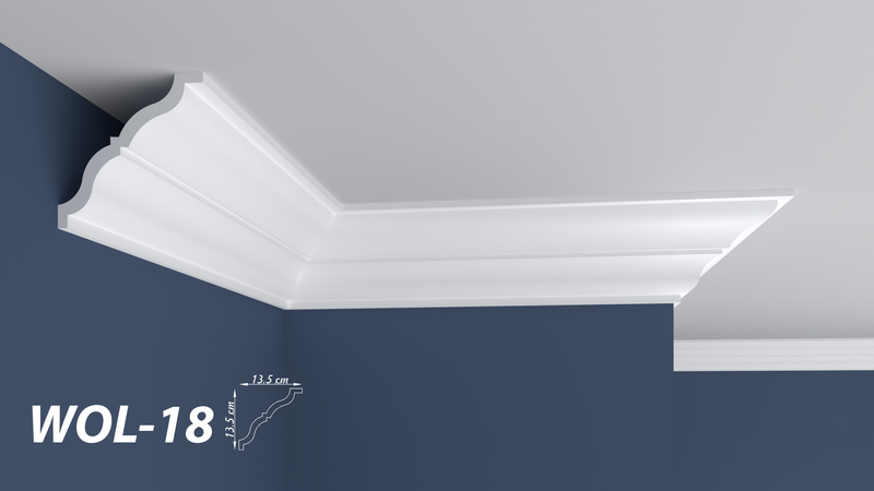 "XPS POLYSTYRENE WALL COVING CORNICE - LIGHTWEIGHT - ""BEST PRICE & QUALITY"" FINEST QUALITY NEXTDAY DELIVERY WOL-18"