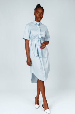 Cotton Shirt Dress (Cool Blue)