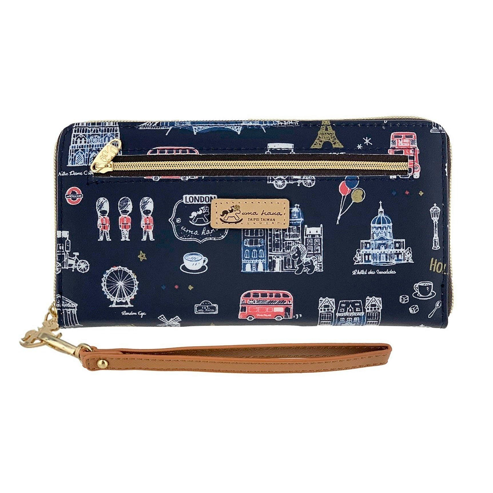 Blue Europe Zipper Long Wallet Wallet Tworgis