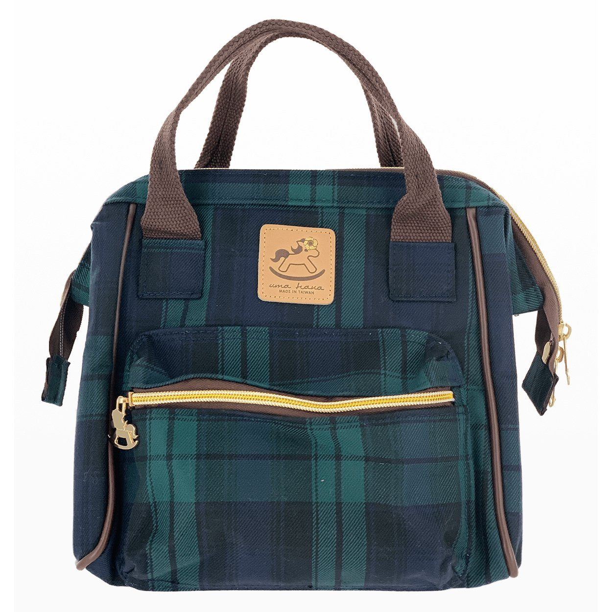 Blue & Green Tartan Plaid Small Triple Usage Bag Triple Usage Bag Tworgis