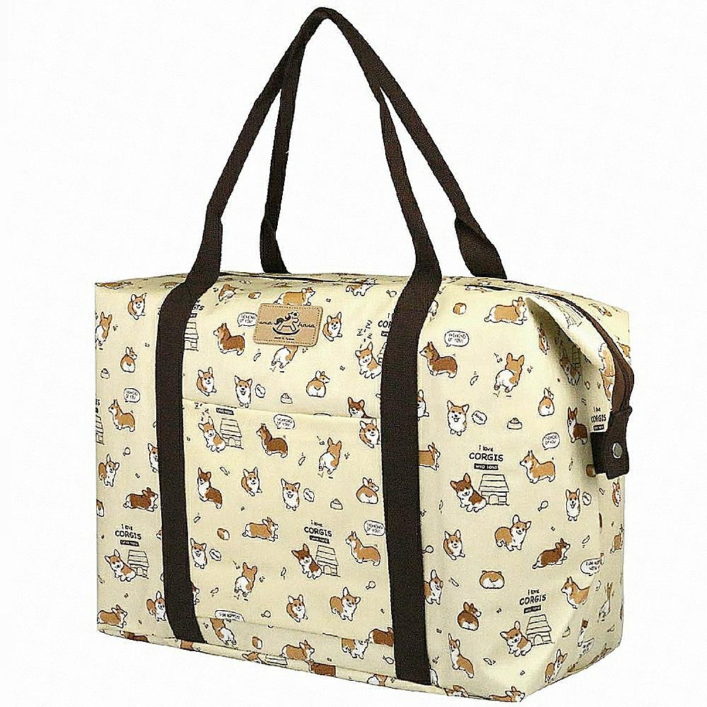 Cream Corgi Puppy Extra Large Travel Tote Tote Tworgis