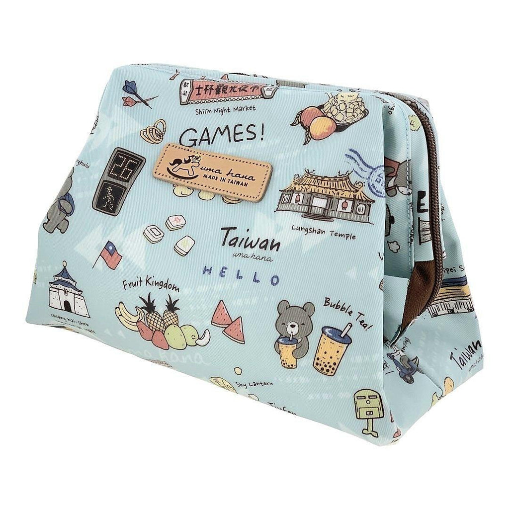 Light Blue Happy Taiwan Large Cosmetic Bag Cosmetic Bag Tworgis