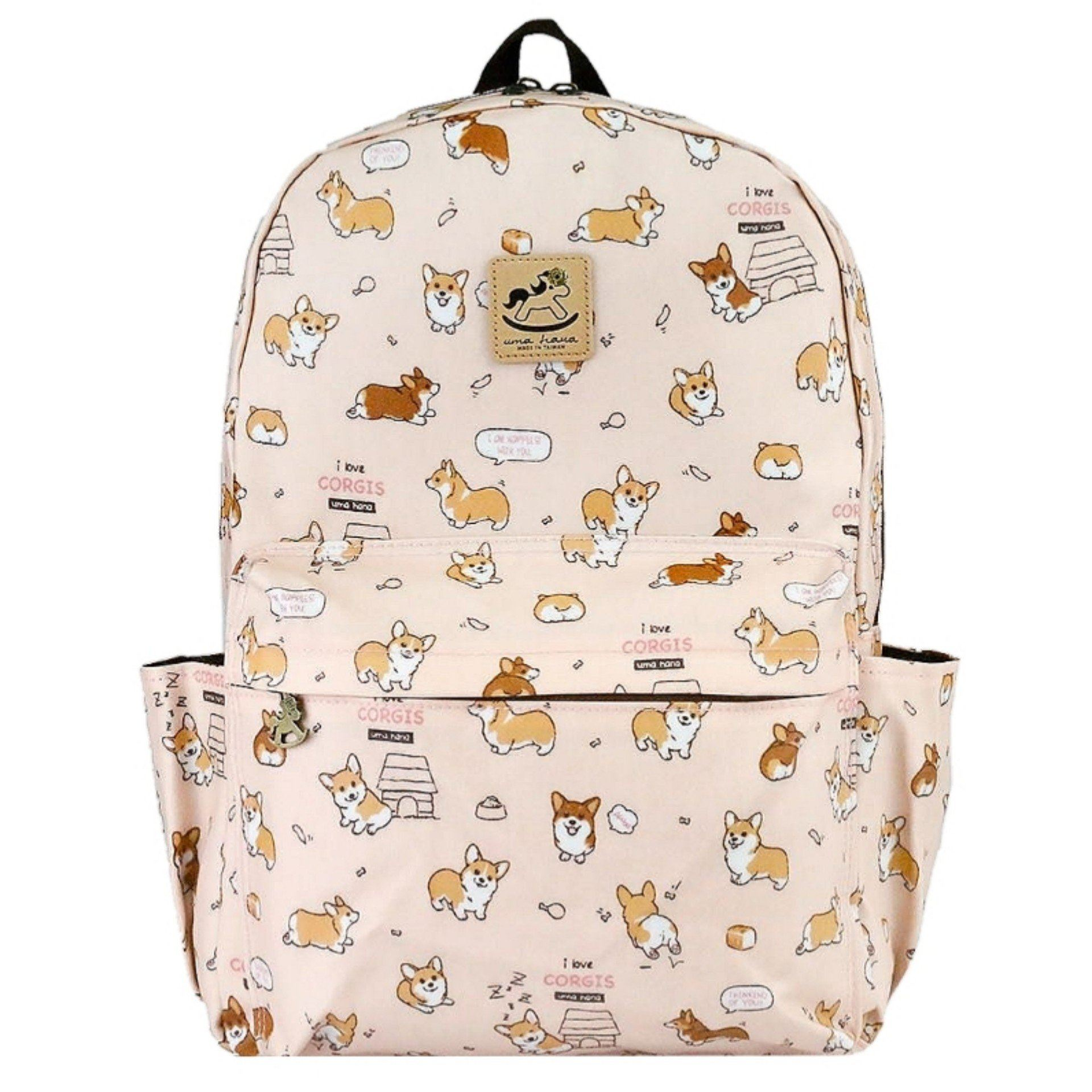 Peach Corgi Puppy Large Backpack Backpack Tworgis