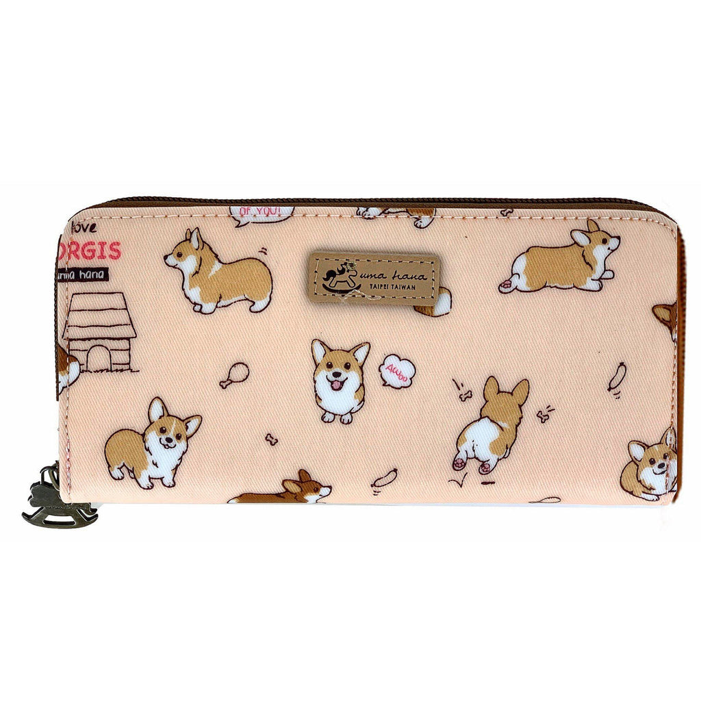Peach Corgi Puppy Long Wallet Wallet Tworgis