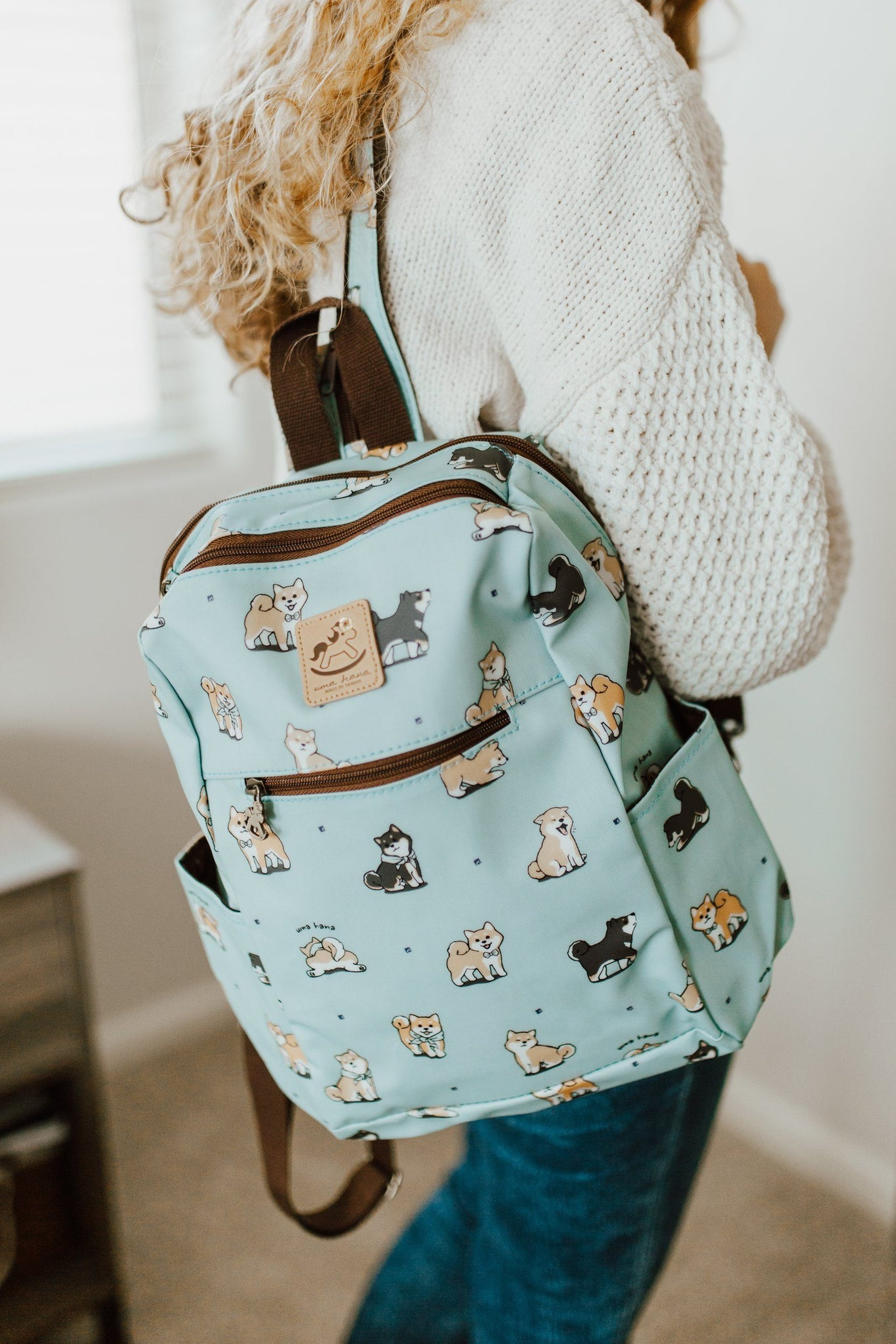 Teal Corgi Puppy Zipper Backpack Backpack Tworgis