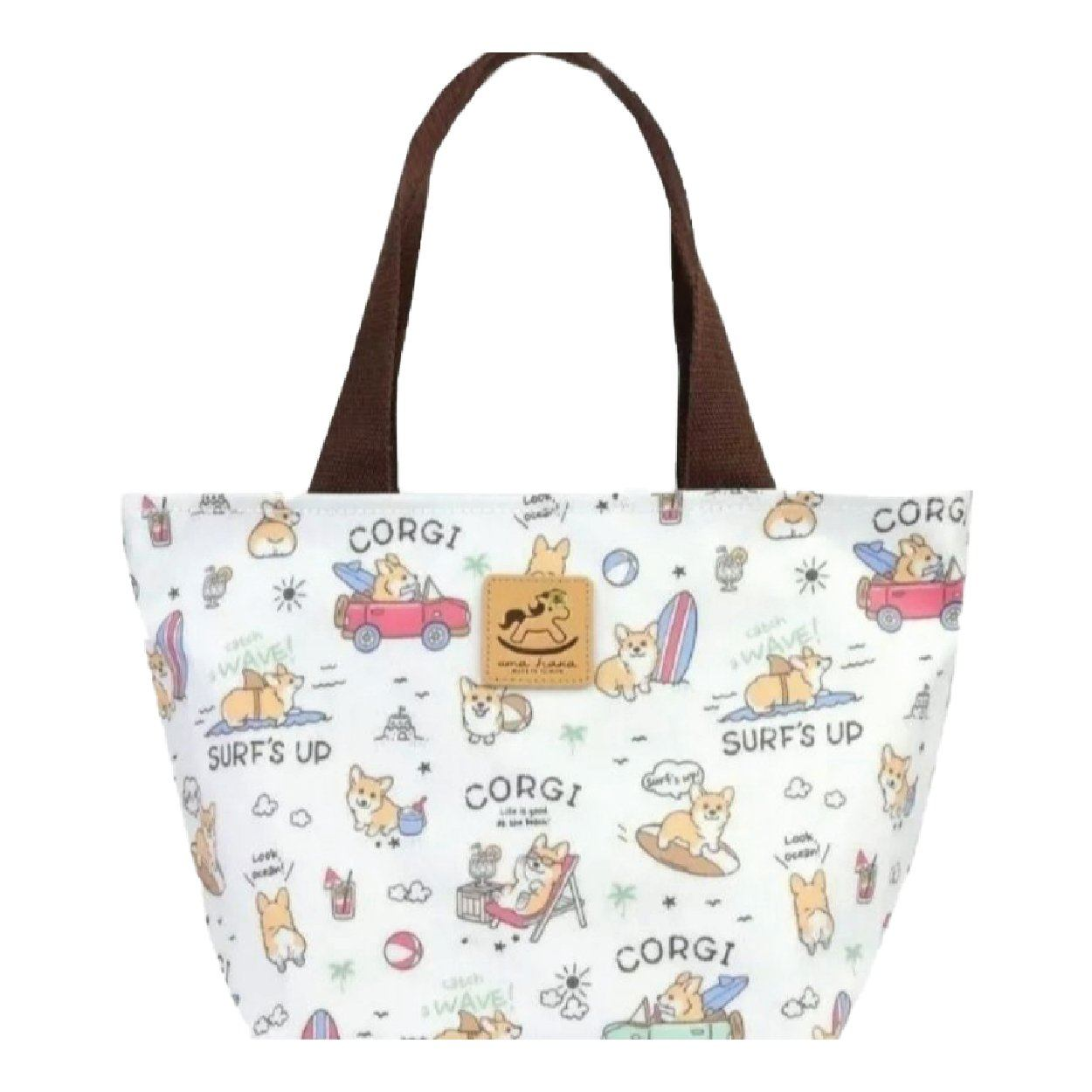 White Surfing Corgi Small Travel Bag Tote Tworgis