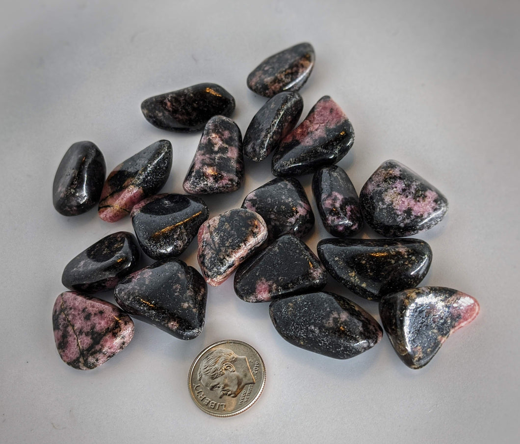 Rhodonite Tumbled Stones - Set of 3