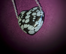 Load image into Gallery viewer, Snowflake Obsidian Puffy Heart Necklace