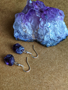Rough Amethyst Drop Earrings