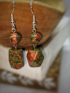 Unakite Multifaceted Drop Earrings