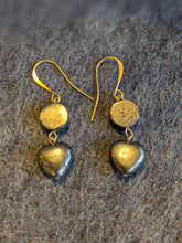 Load image into Gallery viewer, Pyrite Heart Earrings