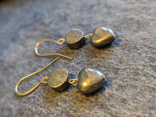 Pyrite Heart Earrings