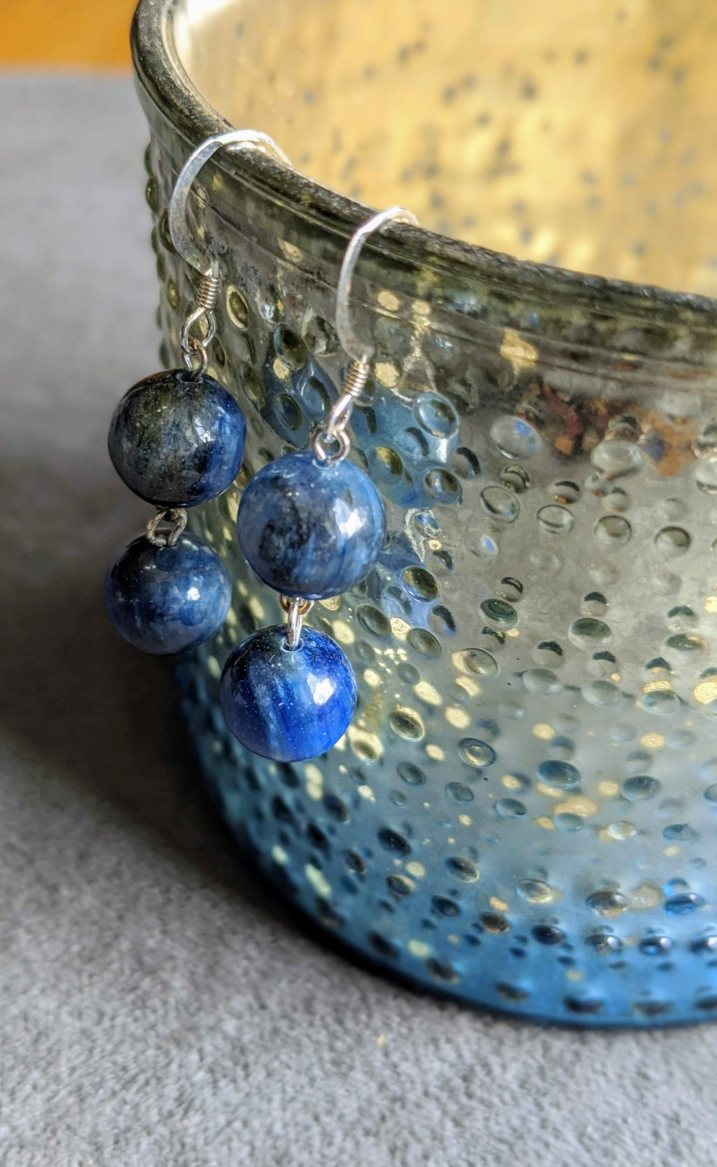 Kyanite Double Sphere Earrings