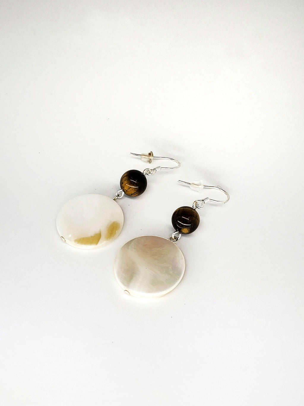 Tiger's Eye and Shell Earrings