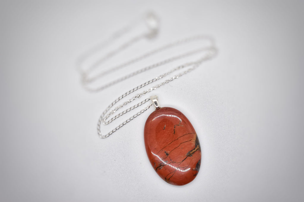 Red Jasper Oval Pendant Necklace