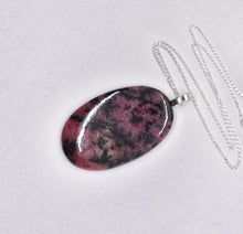 Load image into Gallery viewer, Rhodonite Pendant - 22 inch Sterling Silver Chain