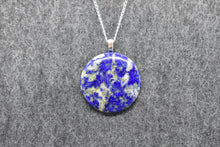 Load image into Gallery viewer, Lapis Lazuli Circle Pendant Nacklace