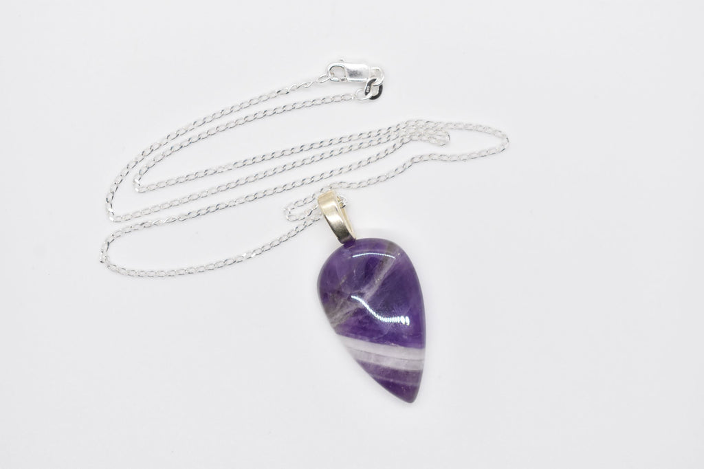 Chevron Amethyst Pendant Necklace