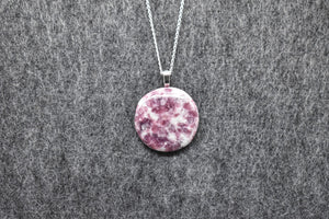 Lepidolite Circle Pendant Necklace