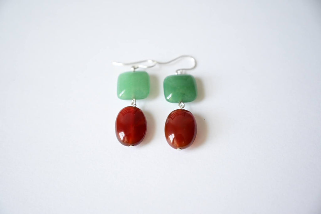Green Aventurine and Carnelian Earrings