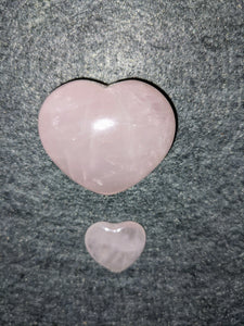 Rose Quartz Puffy Heart and Mini Heart Set