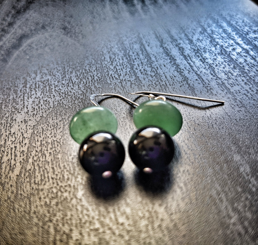 Green Aventurine and Onyx Earrings
