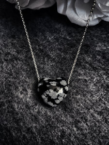 Snowflake Obsidian Puffy Heart Necklace