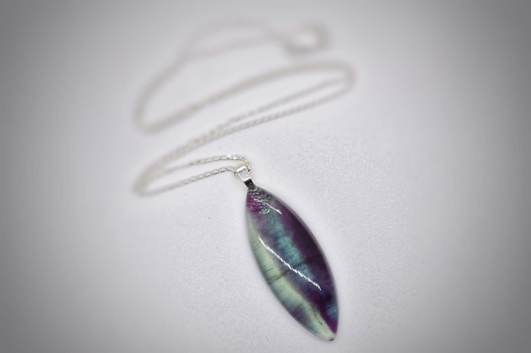 Fluorite Marquise Pendant Necklace
