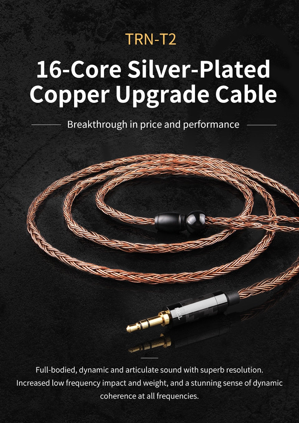 TRN T2 16 Core Silver Plated Copper Upgraded Hand-Woven Cable fits for KZ ZS6 ZS5 ZS4 ZS3 ZSA ED16 Earphones 0.75mm+2.5mm TRRS Jack, Black