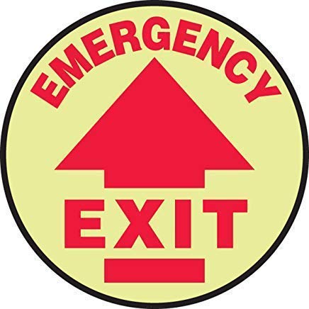 Slip-Gard Lumi-Glow Flex Adhesive Vinyl Round Floor Emergency Exit (Arrow) Safety Sign, Funny Warning Stickers,Self Adhesive Vinyl,Safety Sign Label Decal, 17 Height X 17 Width, Red On Glow