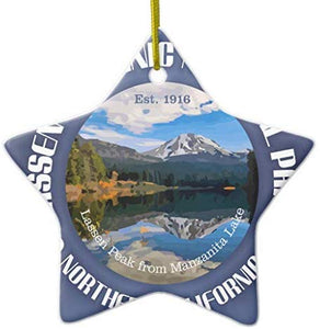 659ParkerRob Christmas Ornaments, Lassen Volcanic National Park Star Ceramic Christmas Ornaments for Christmas Tree Decoration,, Keepsake,New Couples