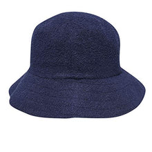 Load image into Gallery viewer, Mens Boucle Bucket Hat Elasticated Headband Navy SmlMed